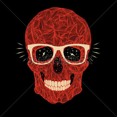 vector-funny-candy-red-skull-with-glasses-and-teeth-on-black-background_170853347